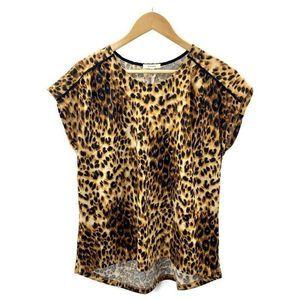 Pleione Tan Leopard Top Size L Short Sleeve